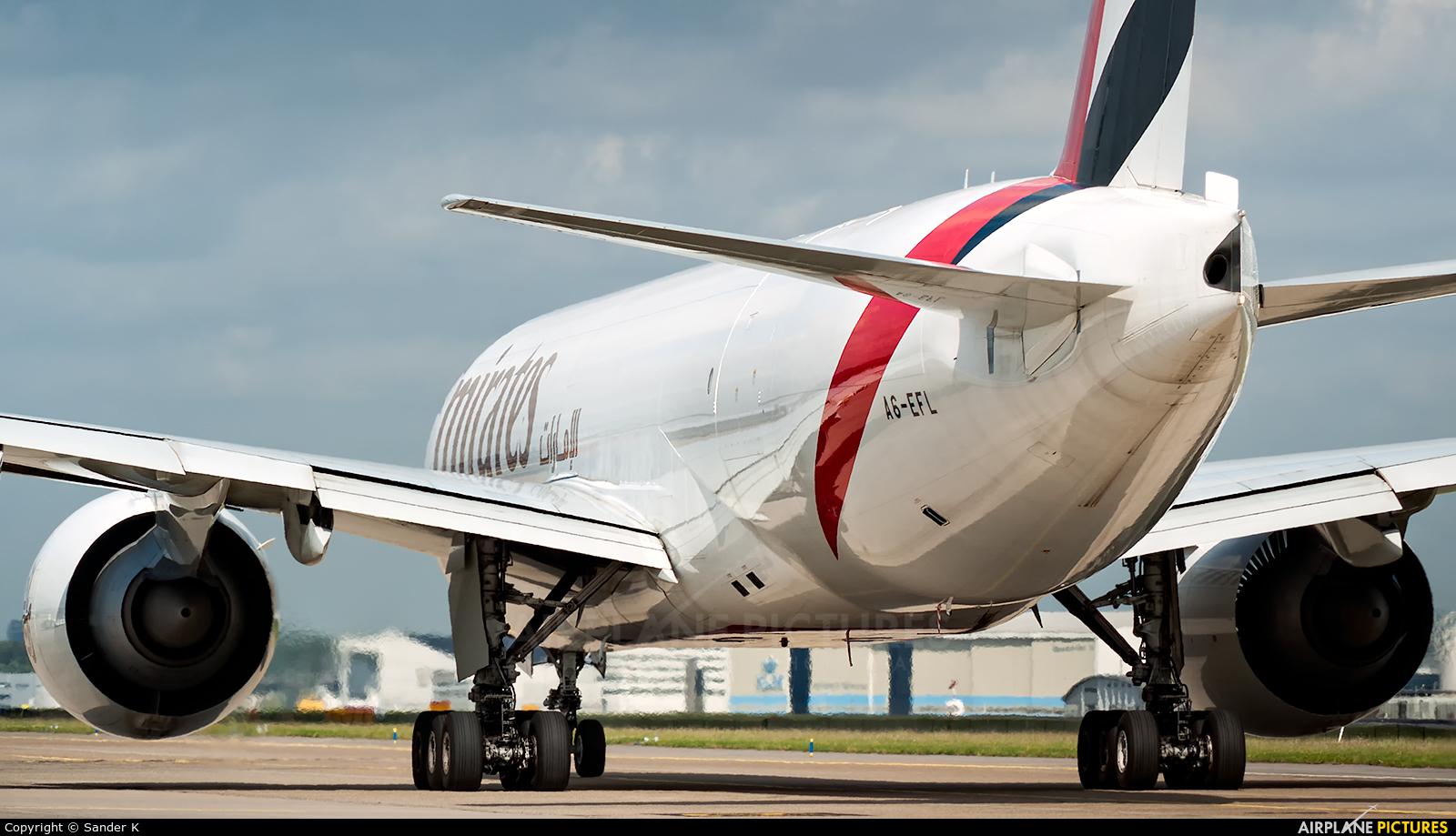 Emirates Sky Cargo A6-EFL aircraft at Amsterdam - Schiphol