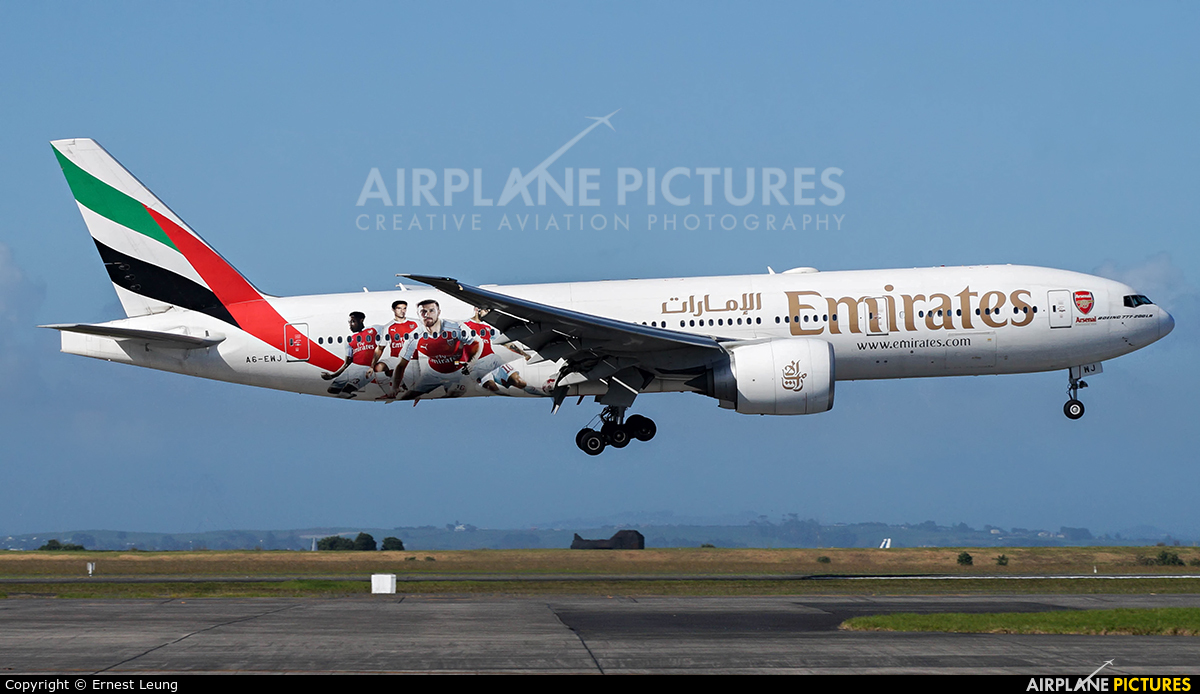 Emirates Airlines A6-EWJ aircraft at Auckland Intl