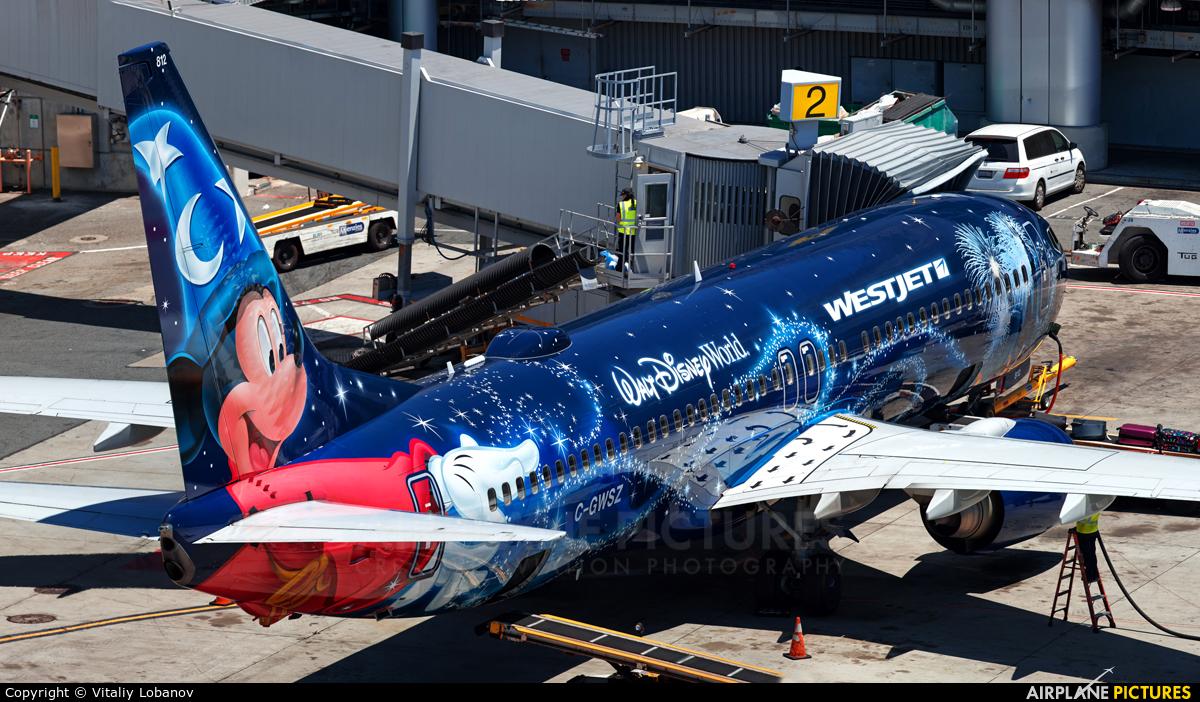 WestJet Airlines C-GWSZ aircraft at San Francisco Intl