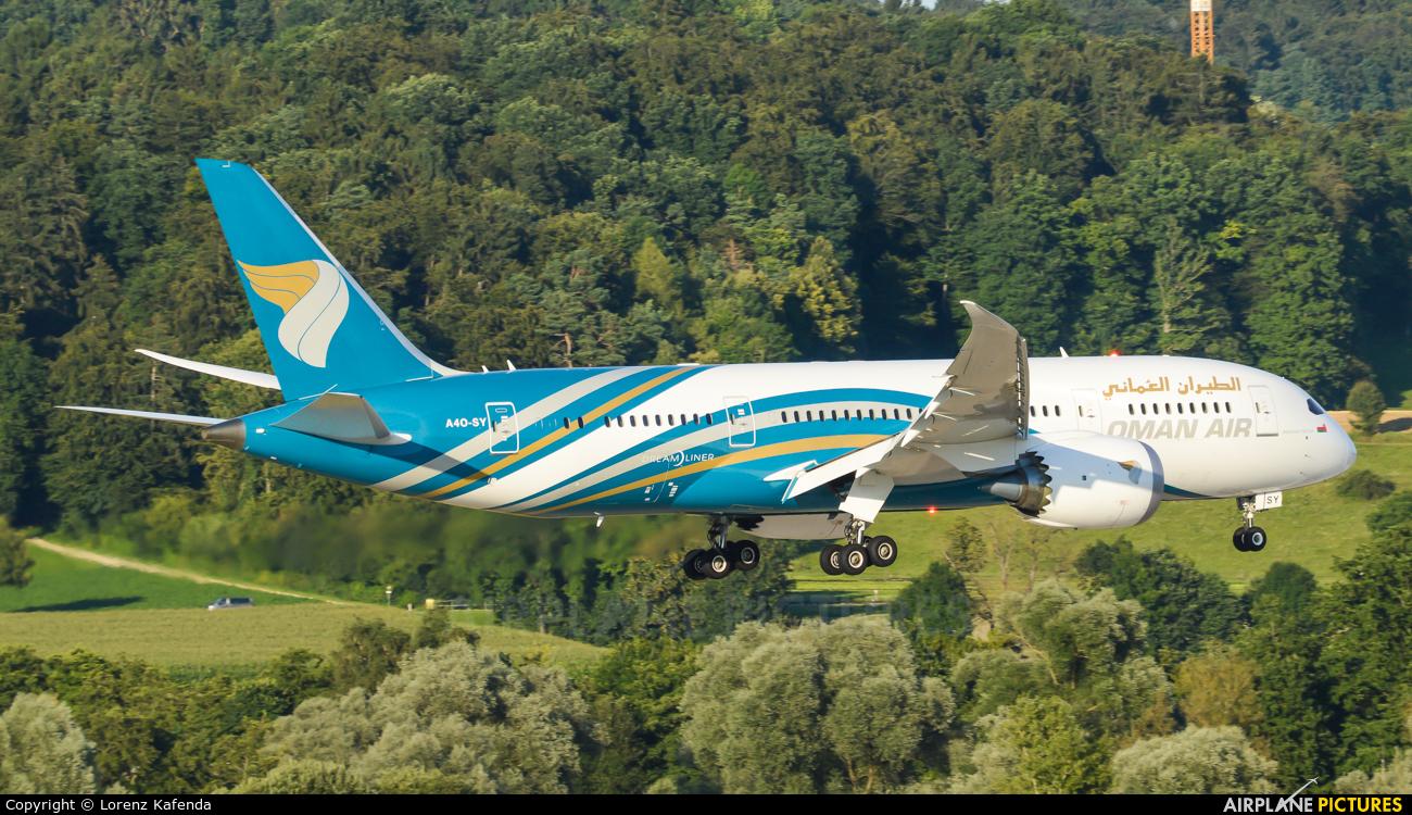 Oman Air A4O-SY aircraft at Zurich