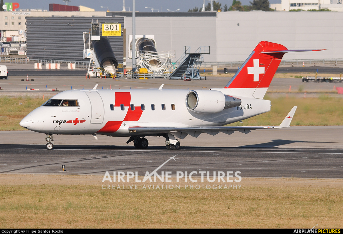 REGA Swiss Air Ambulance  HB-JRA aircraft at Lisbon