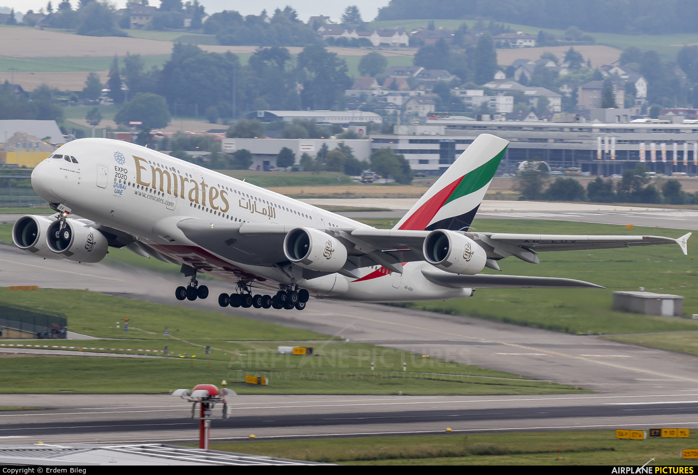 Emirates Airlines A6-EOV aircraft at Zurich