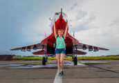 "07 BLUE - Russia - Air Force ""Strizhi"" Mikoyan-Gurevich MiG-29UB aircraft"