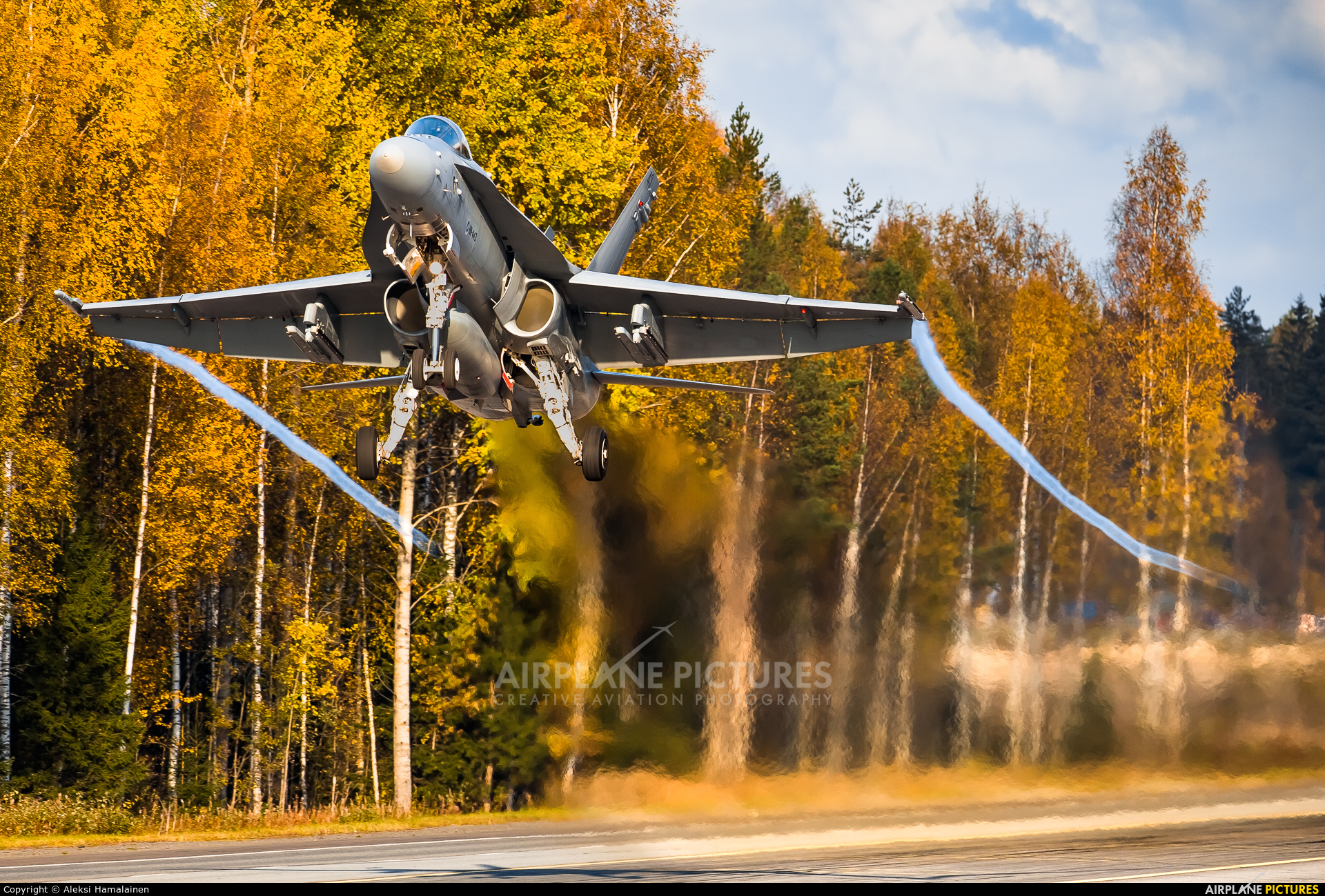 Finland - Air Force HN-443 aircraft at Off Airport - Lusi Highway Strip