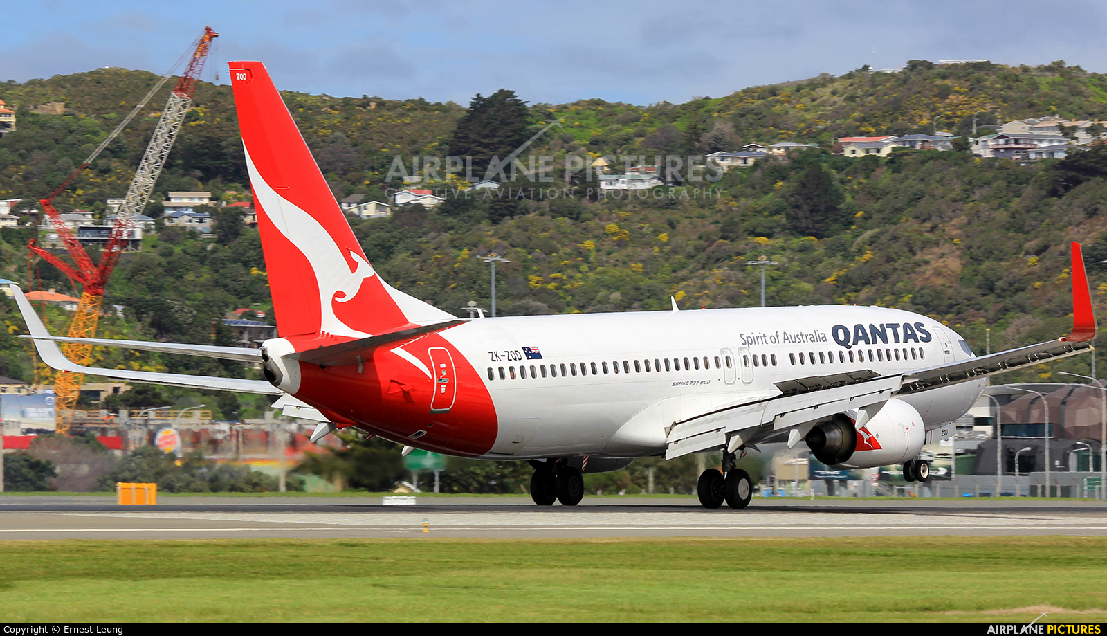 QANTAS ZK-ZQD aircraft at Wellington Intl