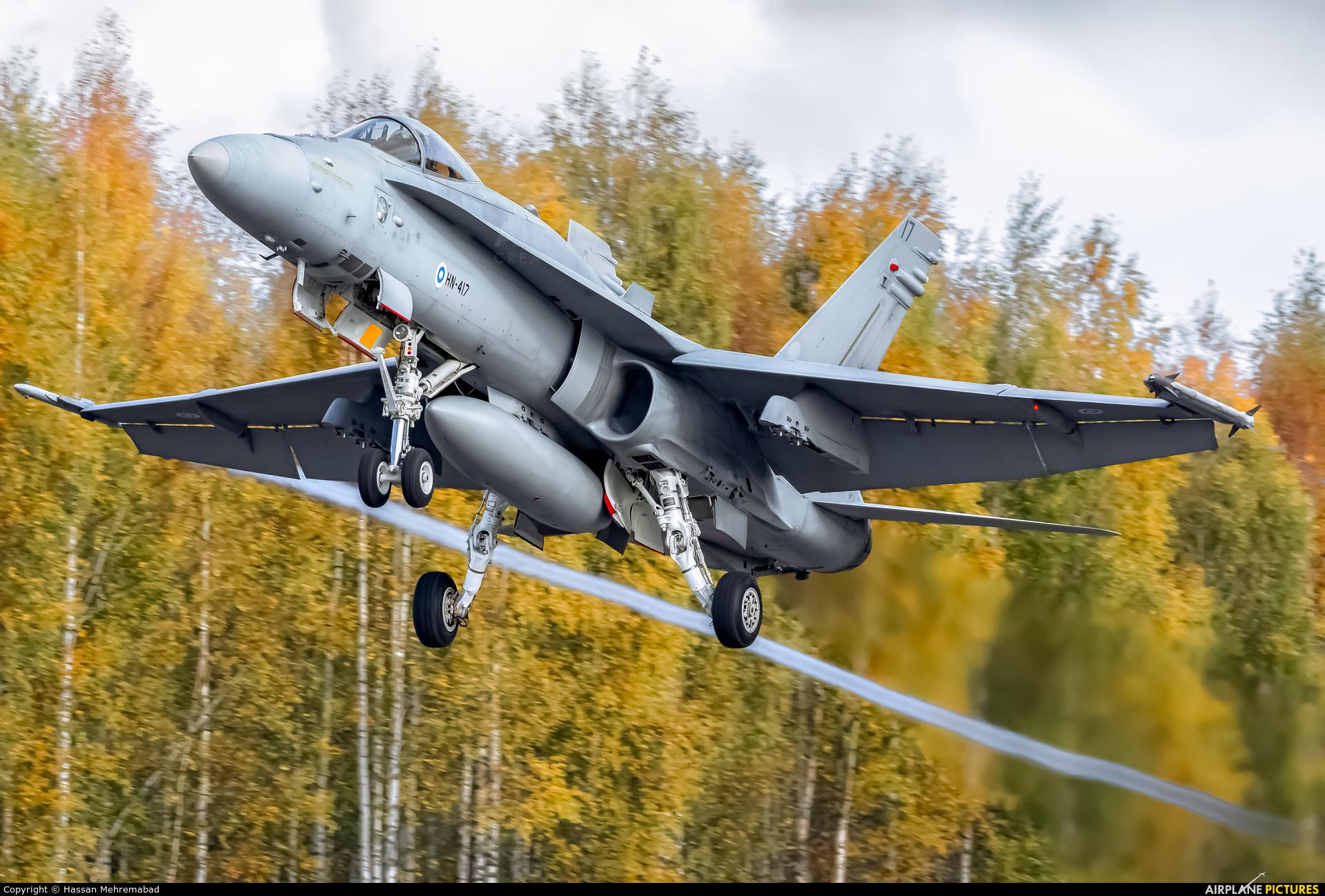 Finland - Air Force HN-417 aircraft at Off Airport - Lusi Highway Strip