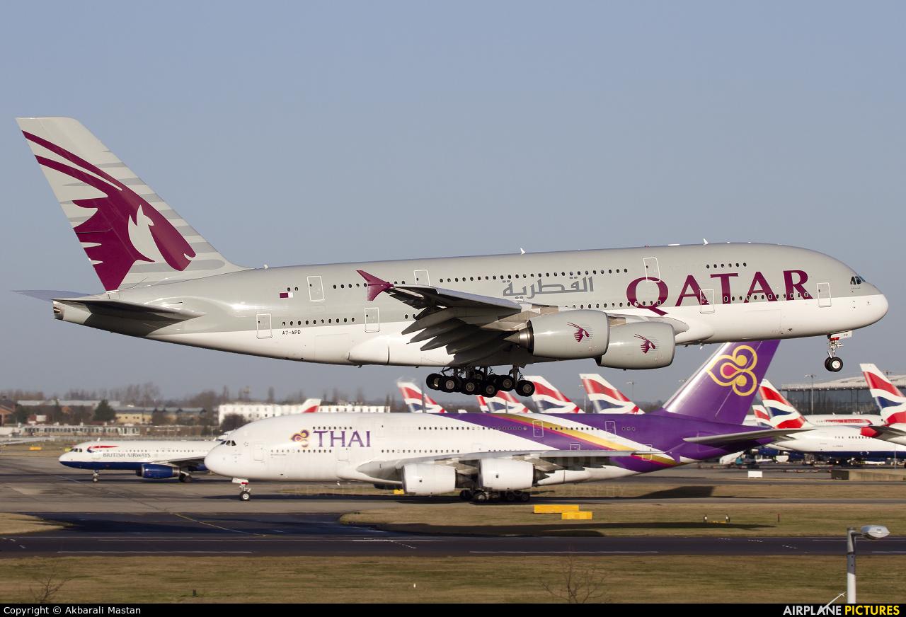 a7apd qatar airways airbus a380 at london heathrow