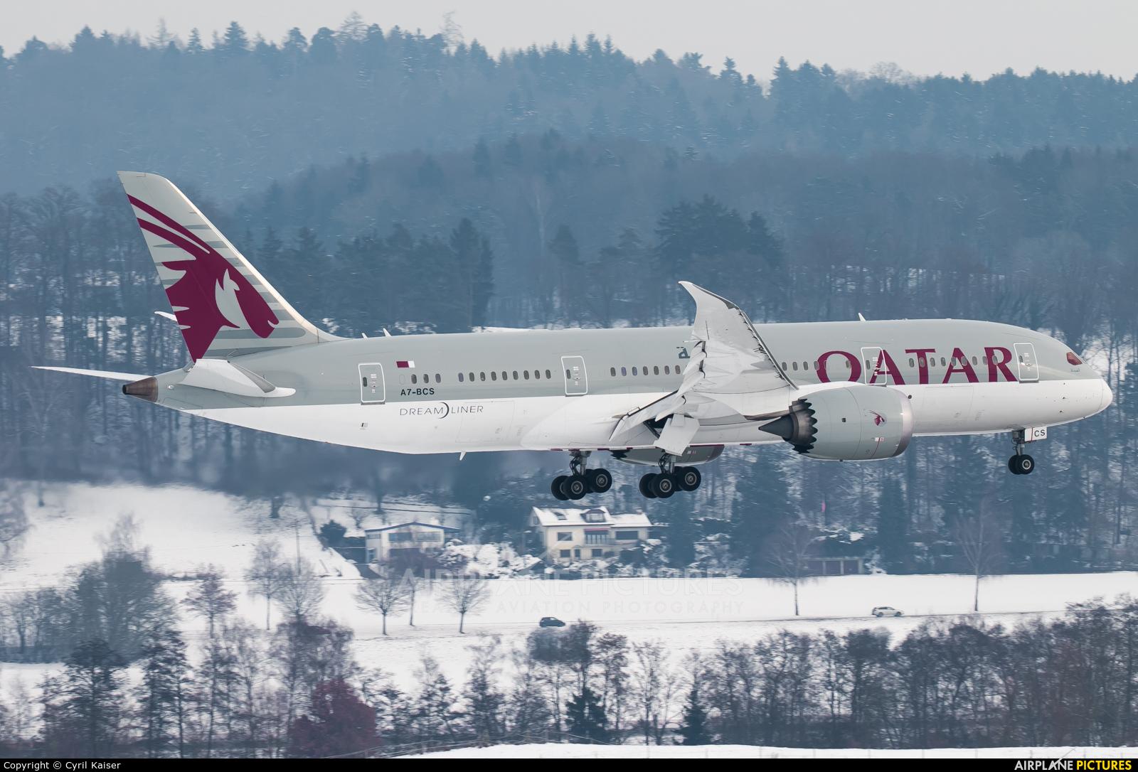 Qatar Airways A7-BCS aircraft at Zurich