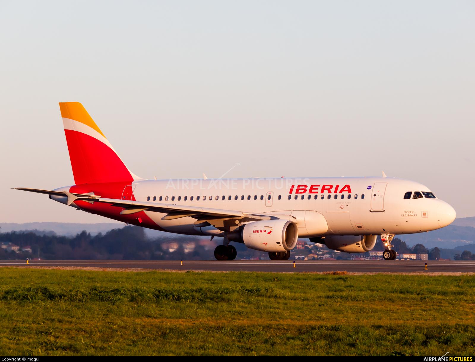 Iberia EC-JXV aircraft at La Coruña