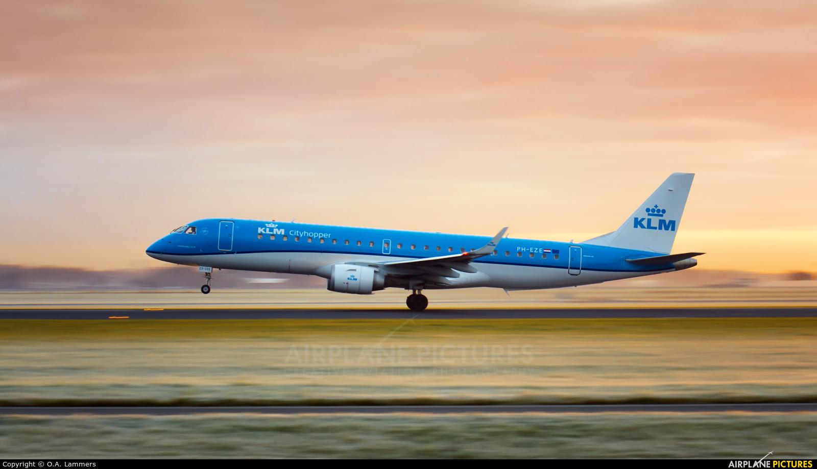 KLM Cityhopper PH-EZE aircraft at Amsterdam - Schiphol