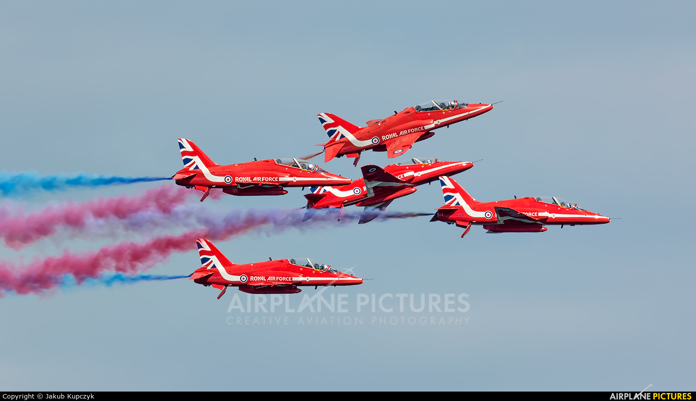 """Royal Air Force """"Red Arrows"""" - aircraft at Newcastle - Off Airport"""