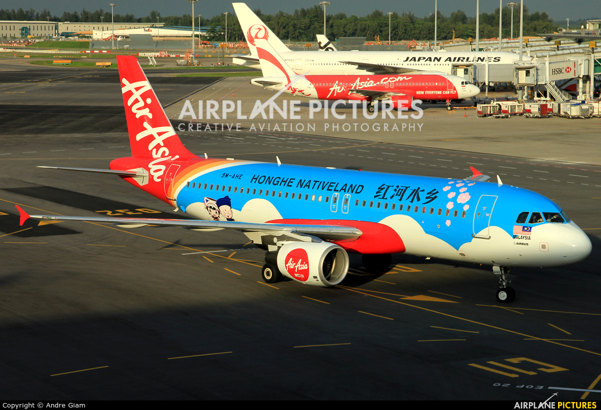 AirAsia (Malaysia) 9M-AHE aircraft at Singapore - Changi