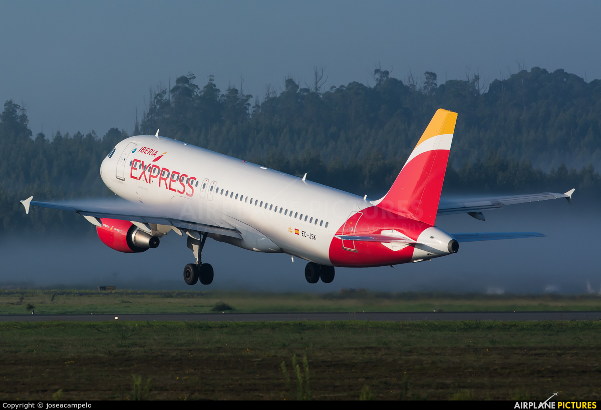 Iberia Express EC-JSK aircraft at Santiago de Compostela