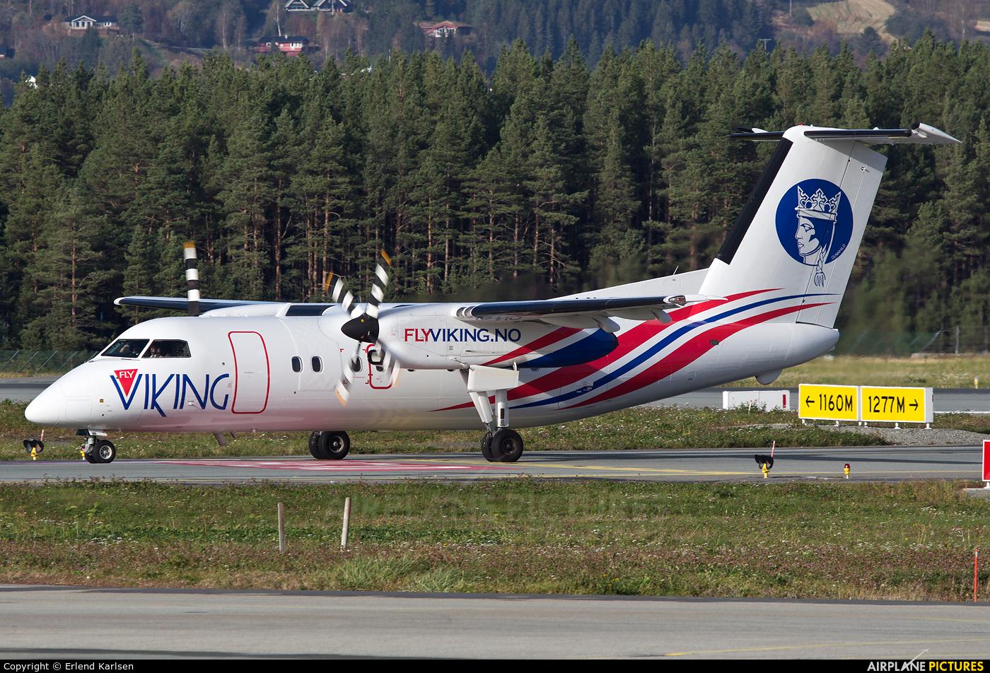 FlyViking LN-FVC aircraft at Trondheim - Vaernes