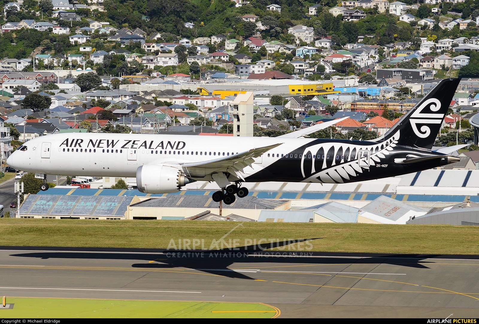 Air New Zealand ZK-NZF aircraft at Wellington Intl