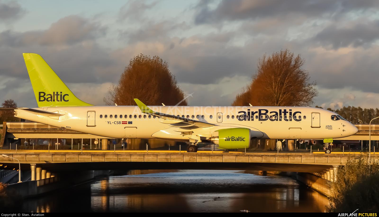 Air Baltic YL-CSB aircraft at Amsterdam - Schiphol
