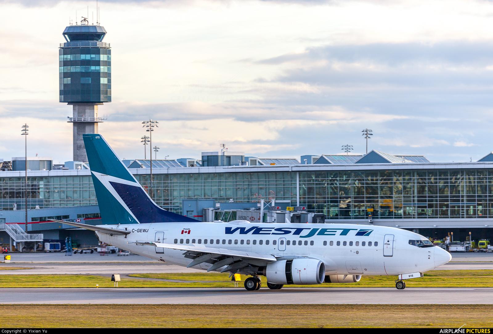 WestJet Airlines C-GEWJ aircraft at Vancouver Intl, BC