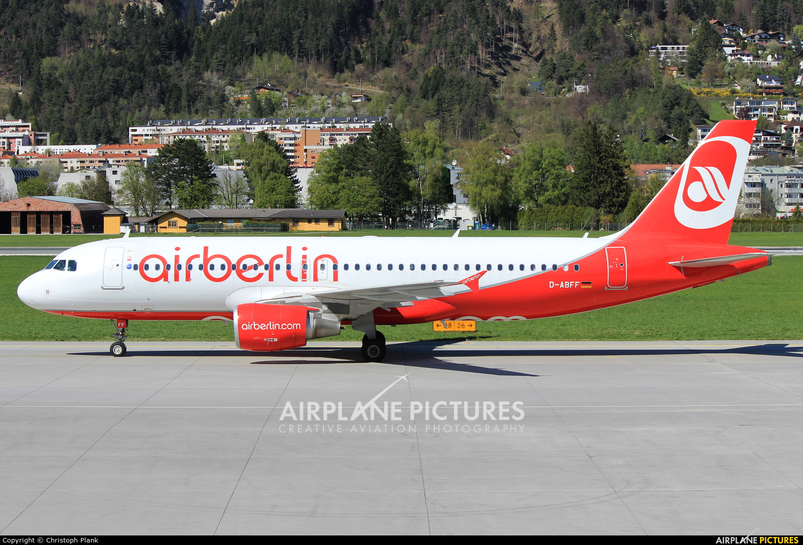 Air Berlin D-ABFF aircraft at Innsbruck