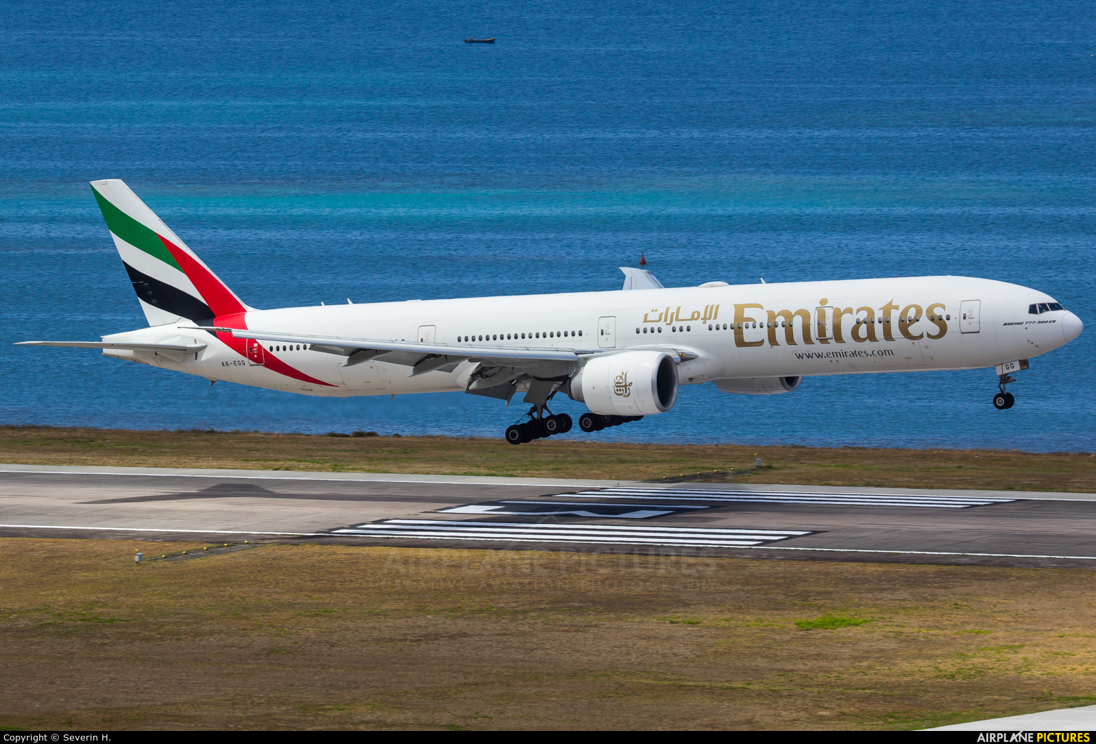 Emirates Airlines A6-EGG aircraft at Mahe Intl