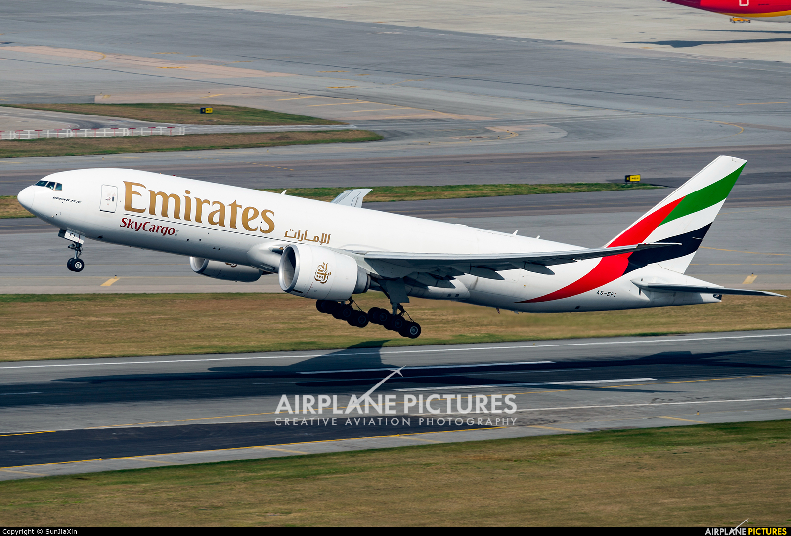 Emirates Sky Cargo A6-EFI aircraft at HKG - Chek Lap Kok Intl