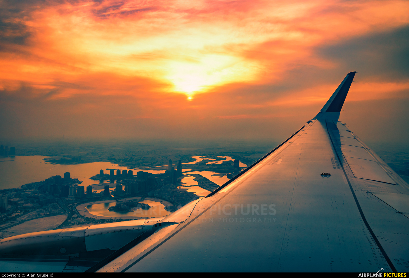 Qatar Airways A7-AHT aircraft at Doha/In Flight