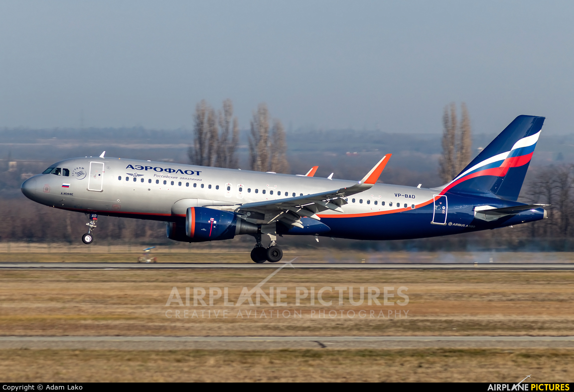 Aeroflot VP-BAD aircraft at Budapest Ferenc Liszt International Airport