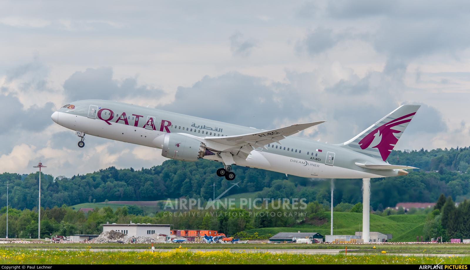 Qatar Airways A7-BCI aircraft at Zurich