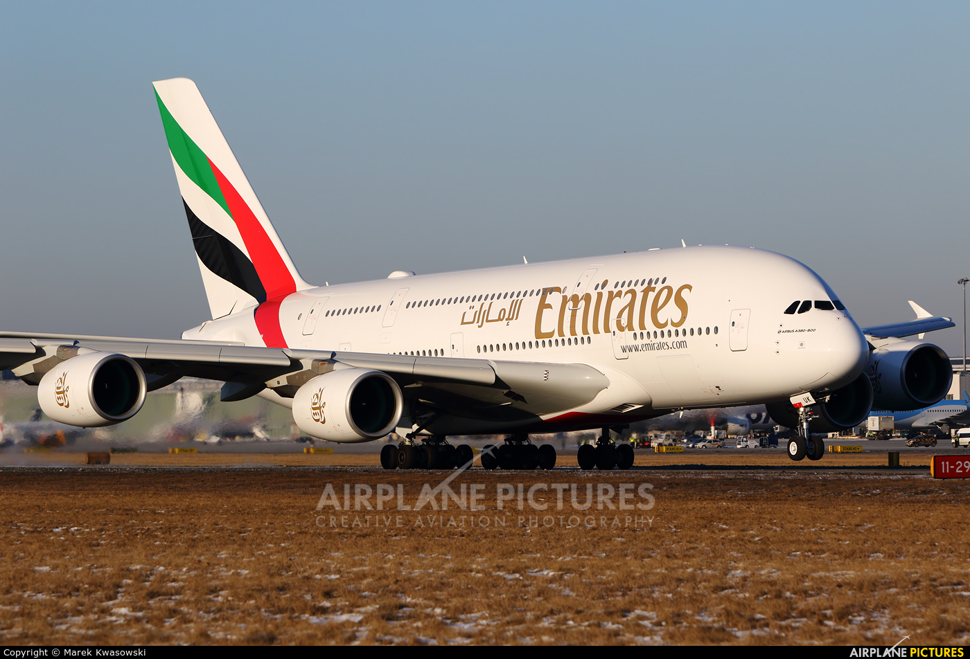 Emirates Airlines A6-EUK aircraft at Warsaw - Frederic Chopin