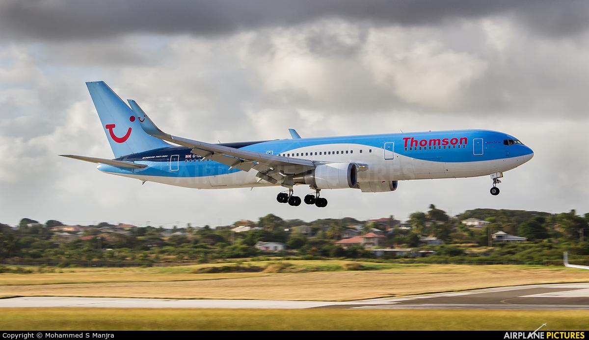 Thomson/Thomsonfly G-OBYE aircraft at Bridgetown