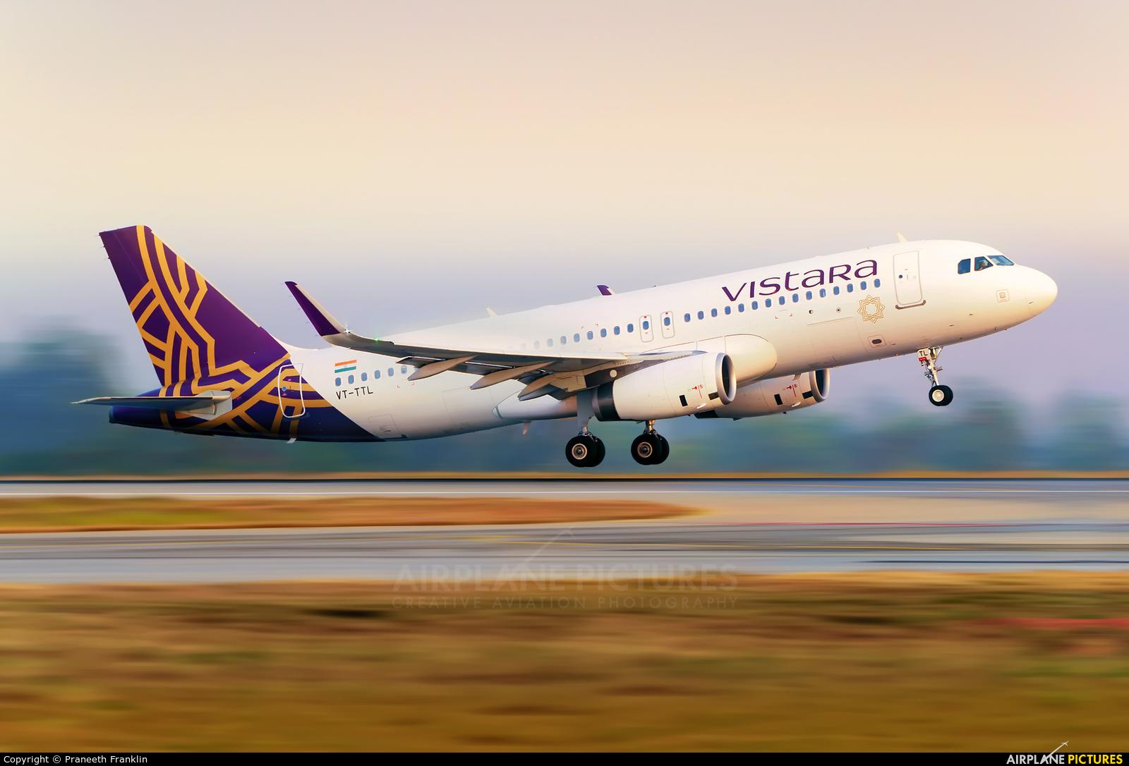 Vistara VT-TTL aircraft at Bangalore - Bengaluru Intl