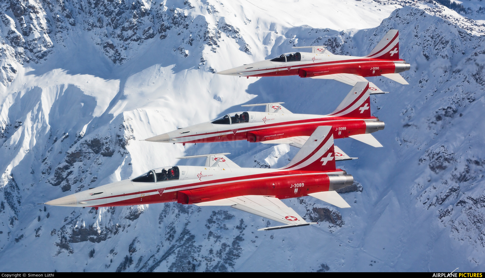 Switzerland - Air Force:  Patrouille de Suisse J-3089 aircraft at Off Airport - Swiss Alps