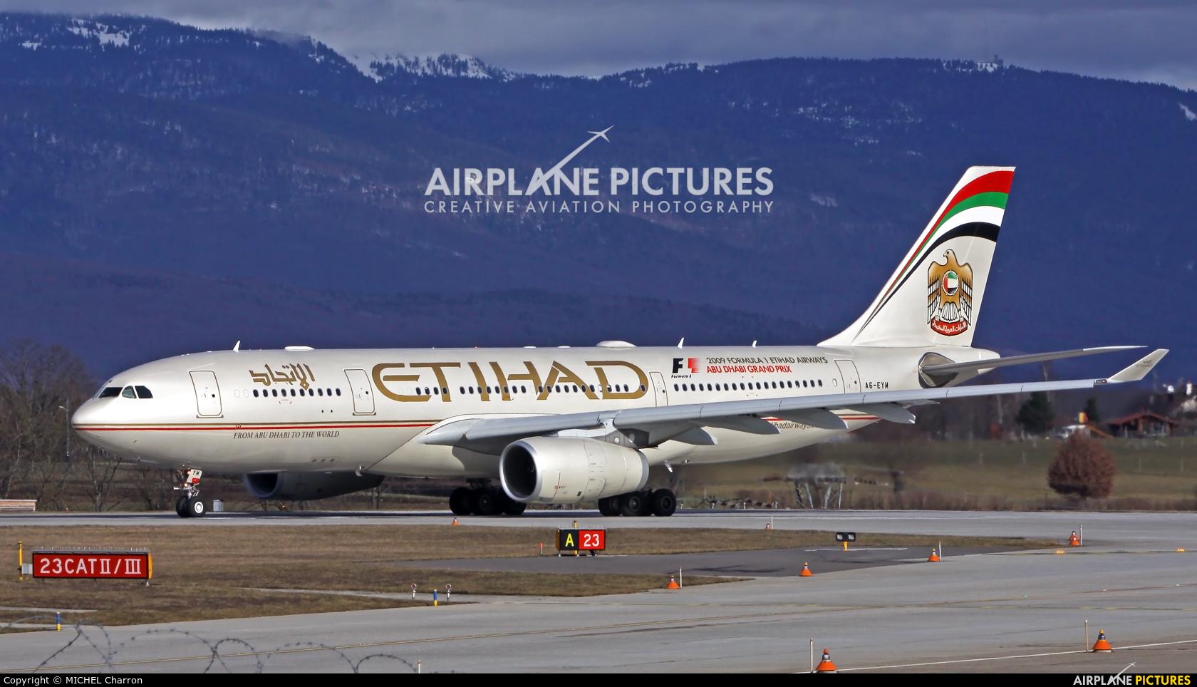Etihad Airways A6-EYM aircraft at Geneva Intl