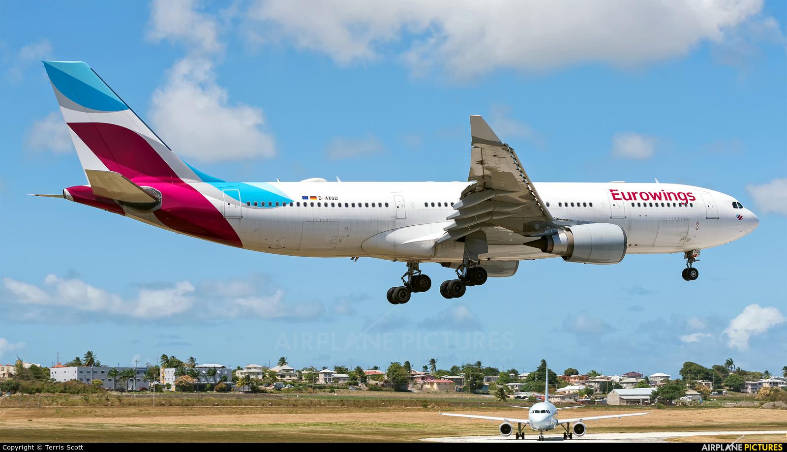 Eurowings D-AXGD aircraft at Bridgetown