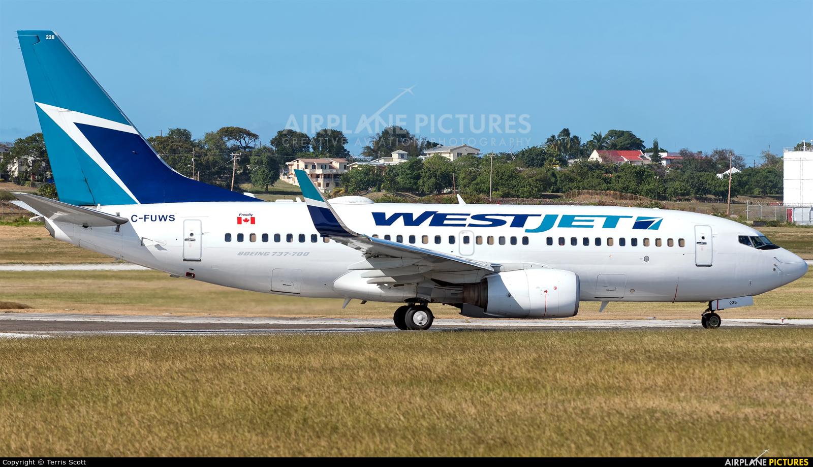 WestJet Airlines C-FUWS aircraft at Bridgetown