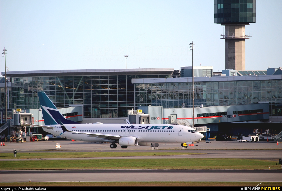 WestJet Airlines C-GWUX aircraft at Vancouver Intl, BC