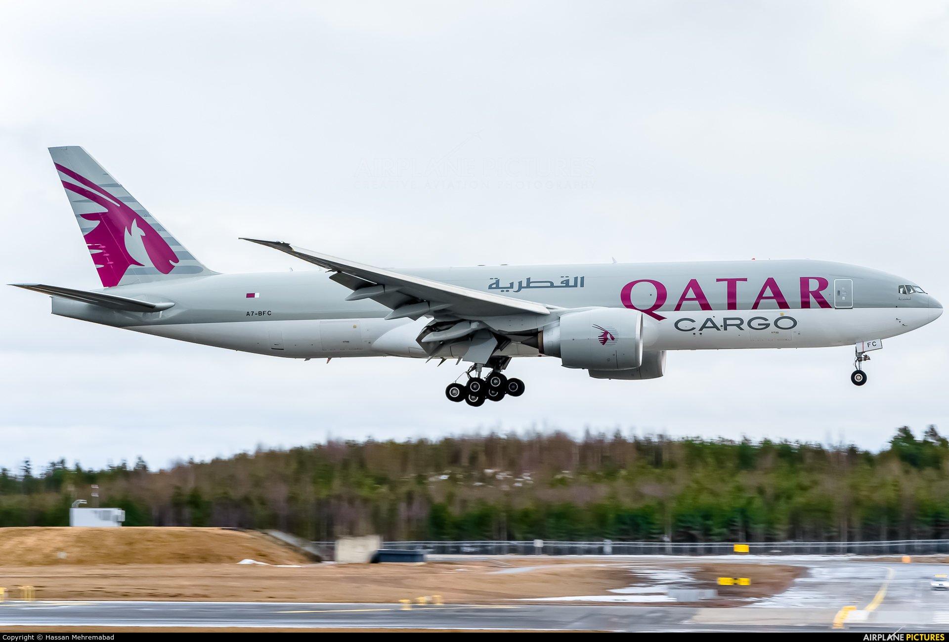 Qatar Airways Cargo A7-BFC aircraft at Oslo - Gardermoen