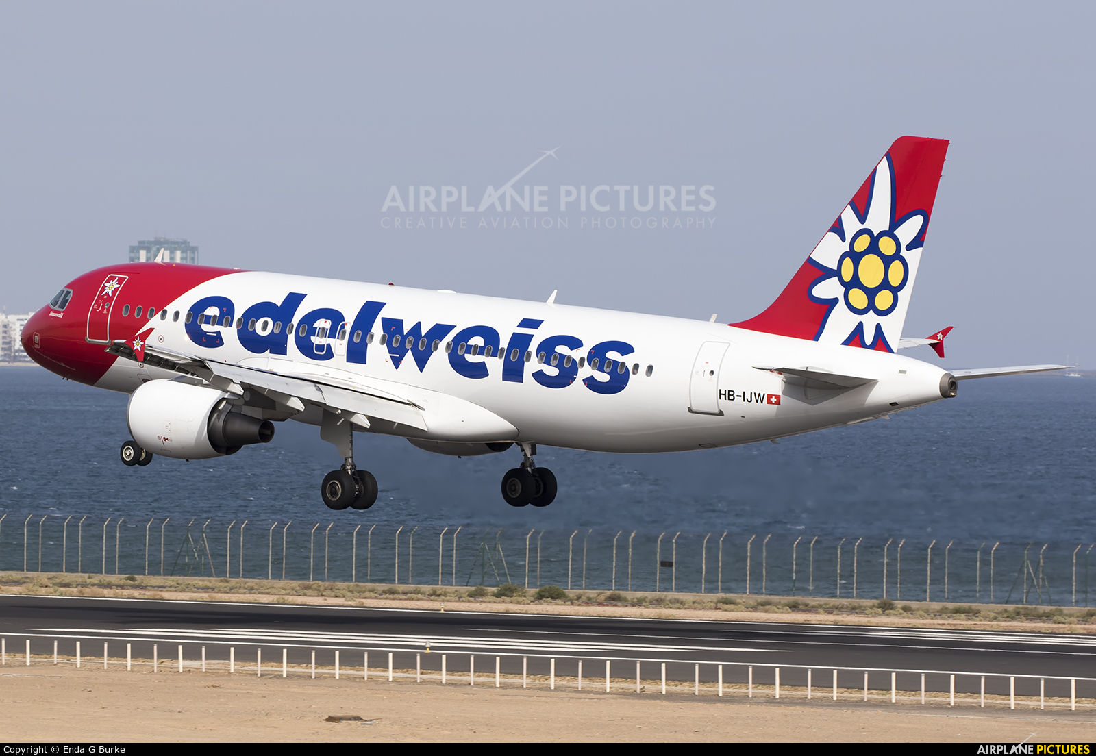 Edelweiss HB-IJW aircraft at Lanzarote - Arrecife