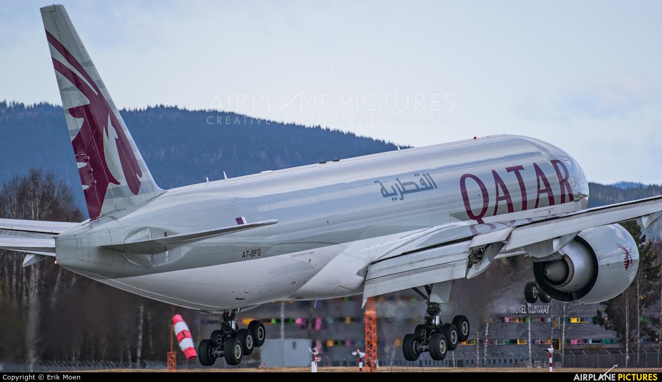 Qatar Airways Cargo A7-BFG aircraft at Oslo - Gardermoen