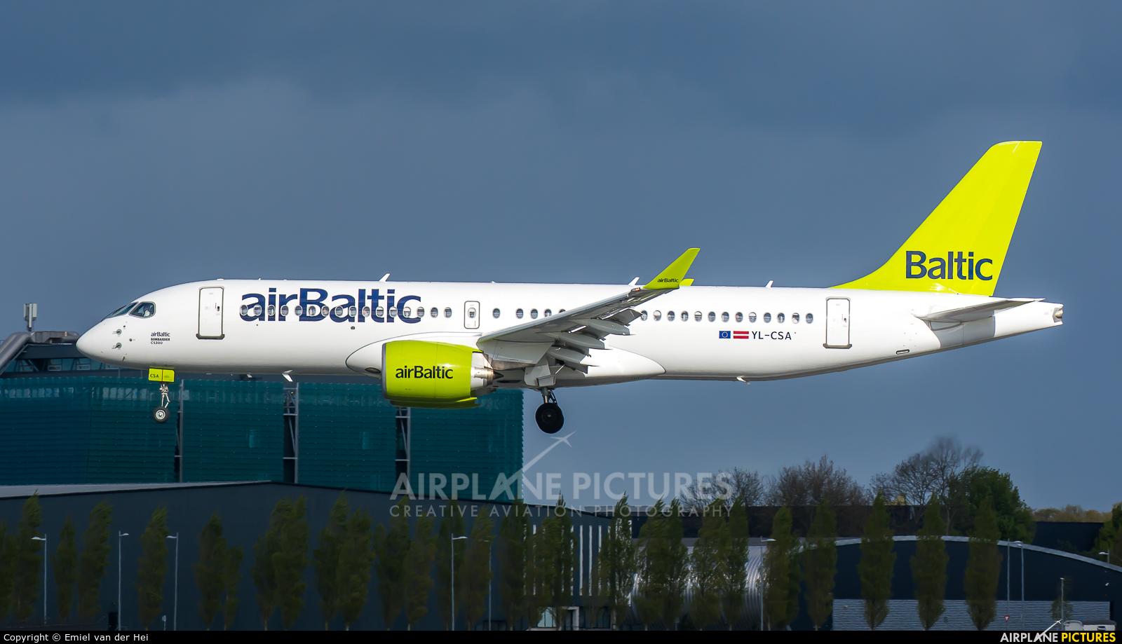 Air Baltic YL-CSA aircraft at Amsterdam - Schiphol