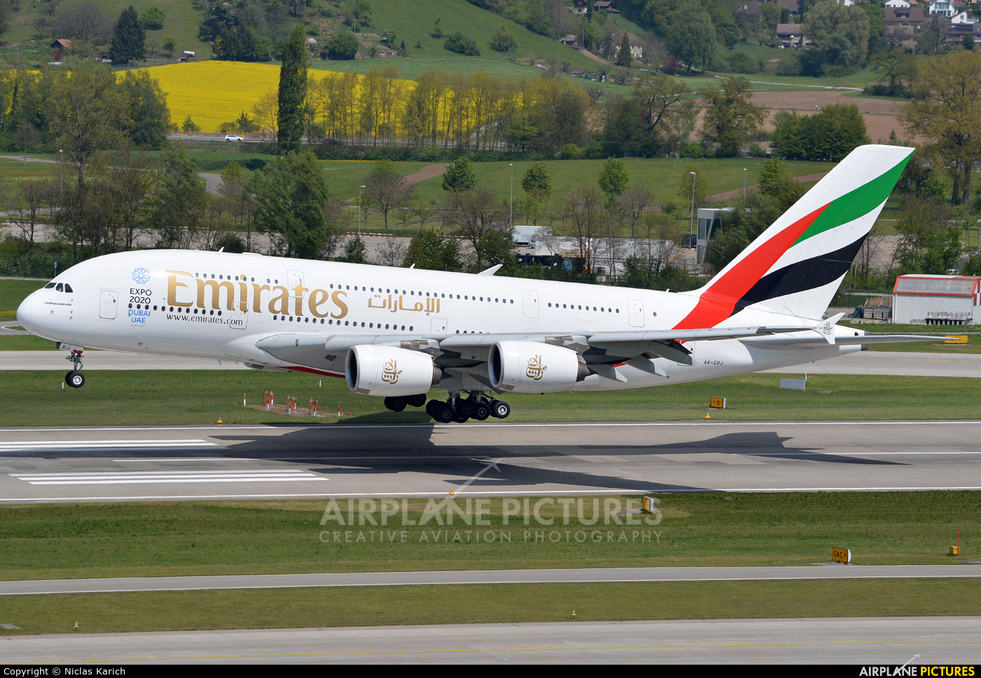 Emirates Airlines A6-EDJ aircraft at Zurich