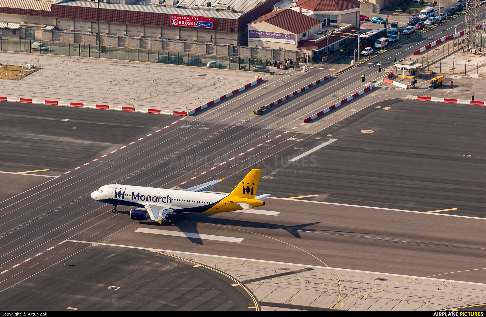 Monarch Airlines G-ZBAP aircraft at Gibraltar