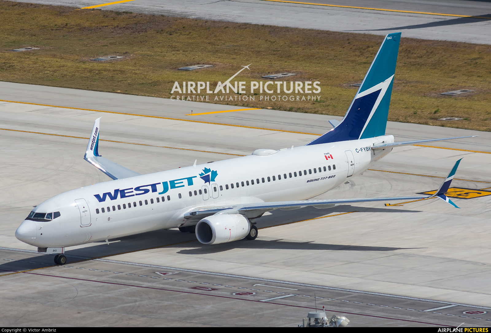 WestJet Airlines C-FYBK aircraft at Cancun Intl