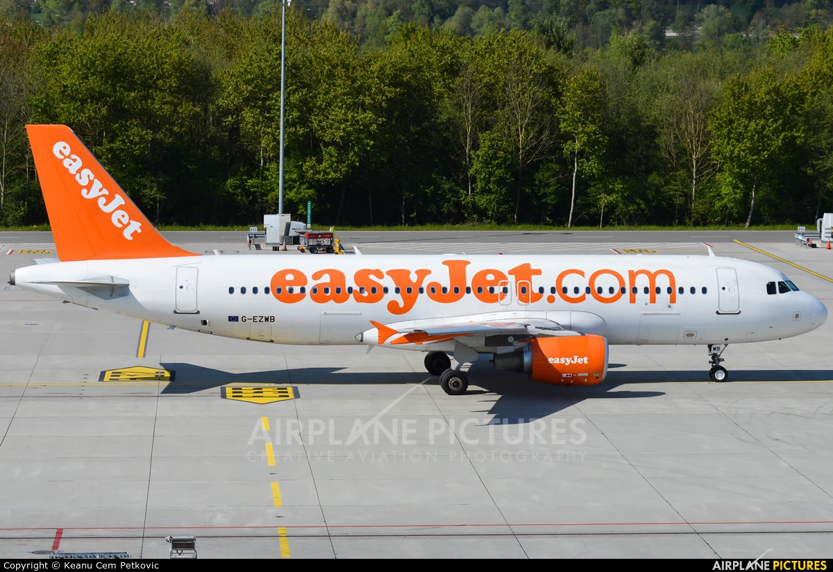 easyJet G-EZWB aircraft at Zurich