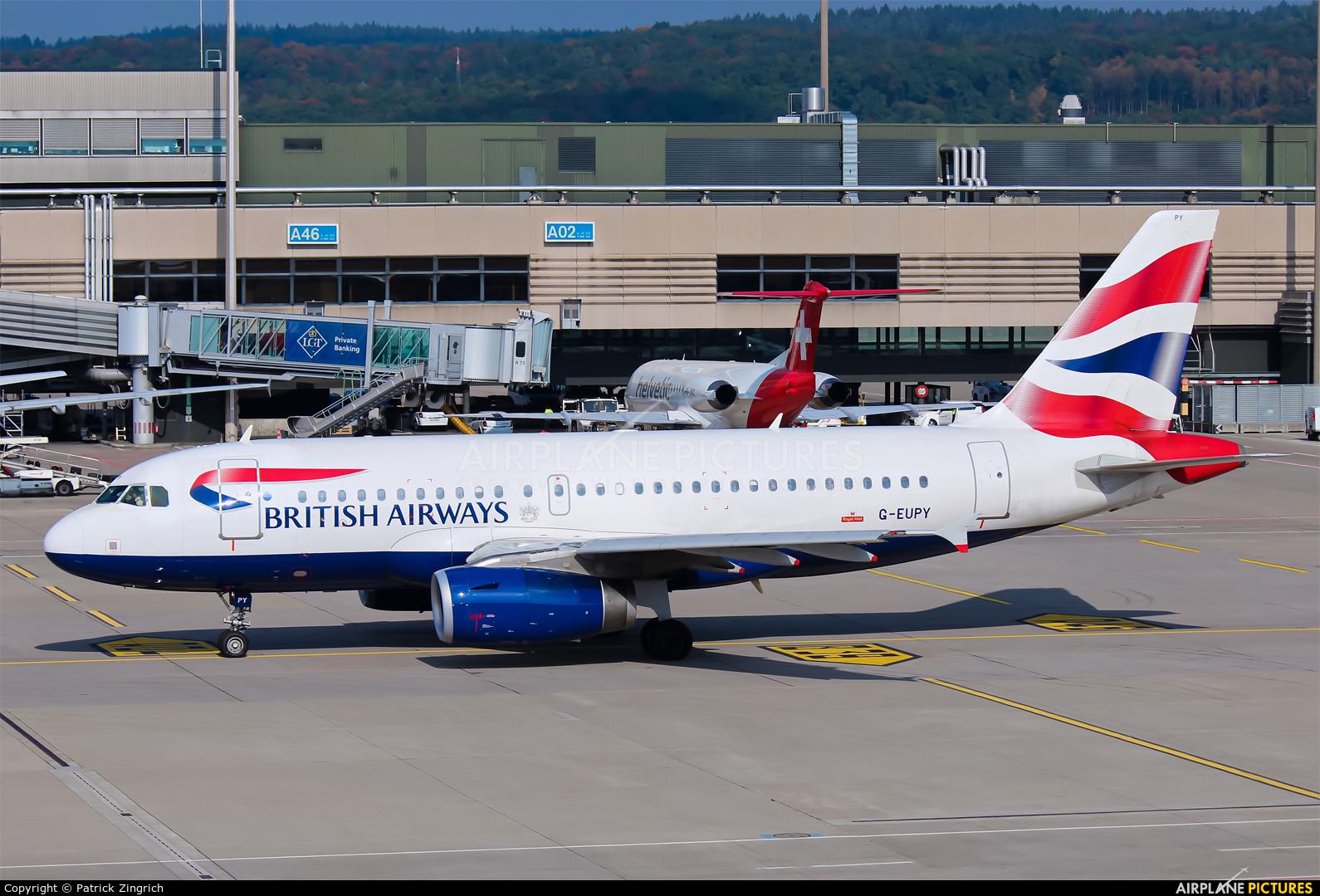 British Airways G-EUPY aircraft at Zurich