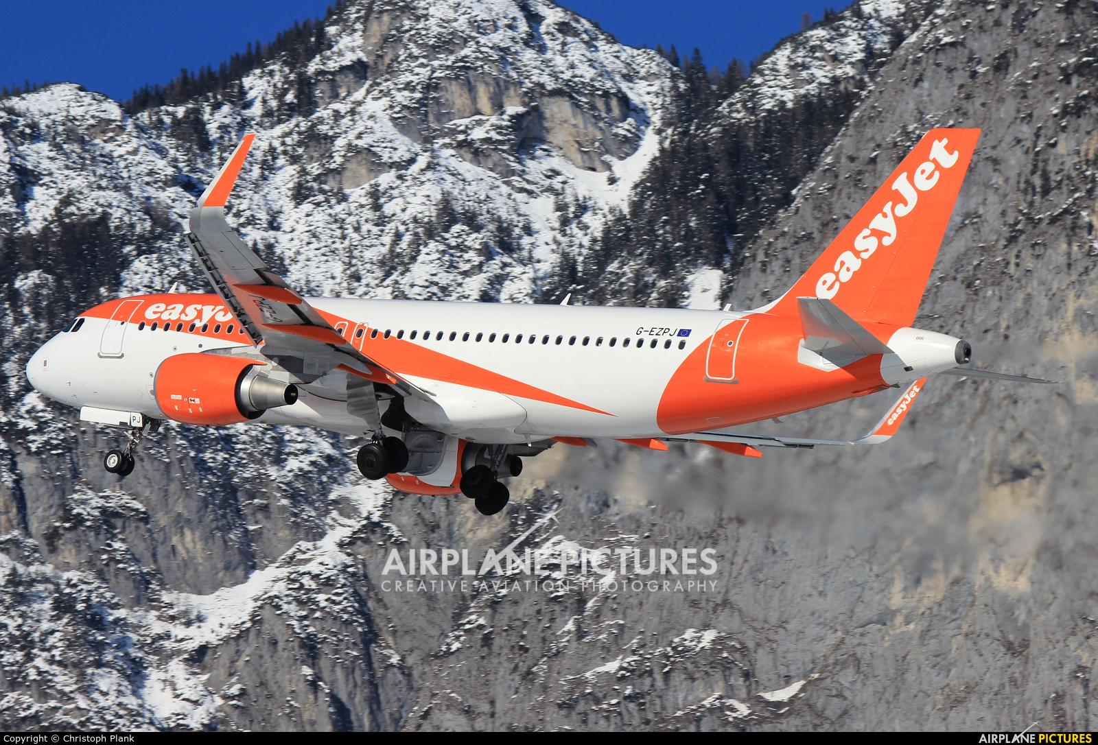 easyJet G-EZPJ aircraft at Innsbruck