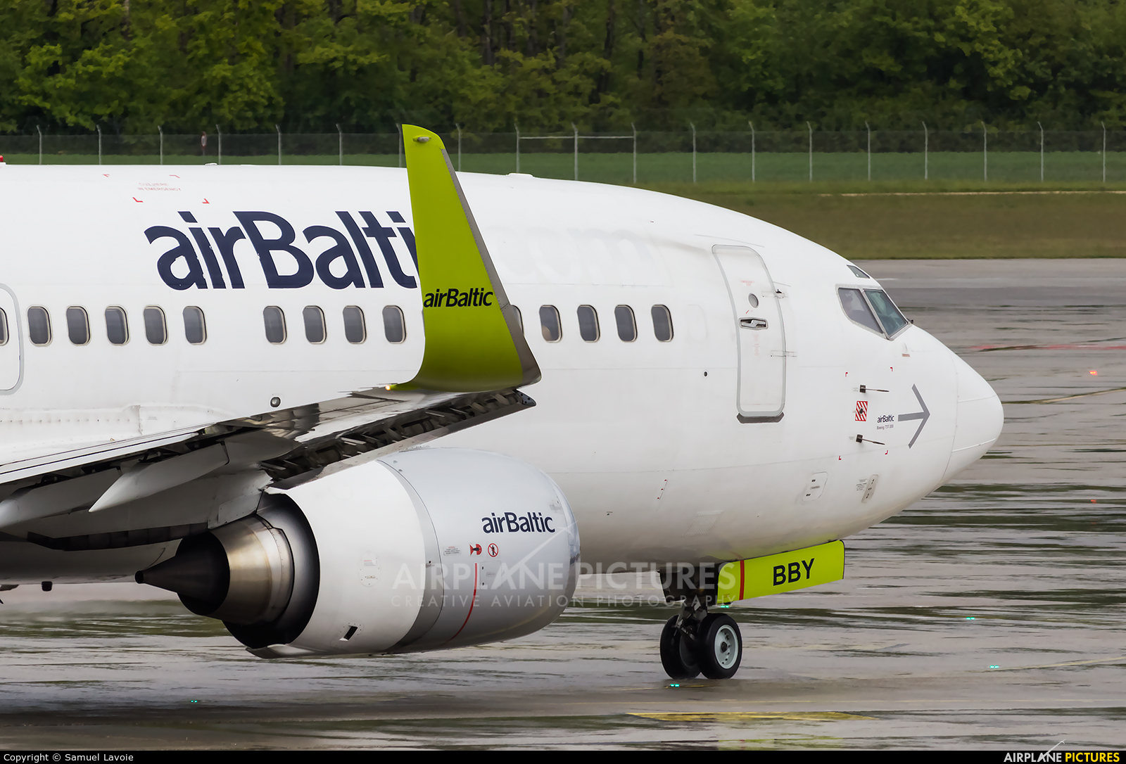 Air Baltic YL-BBY aircraft at Geneva Intl