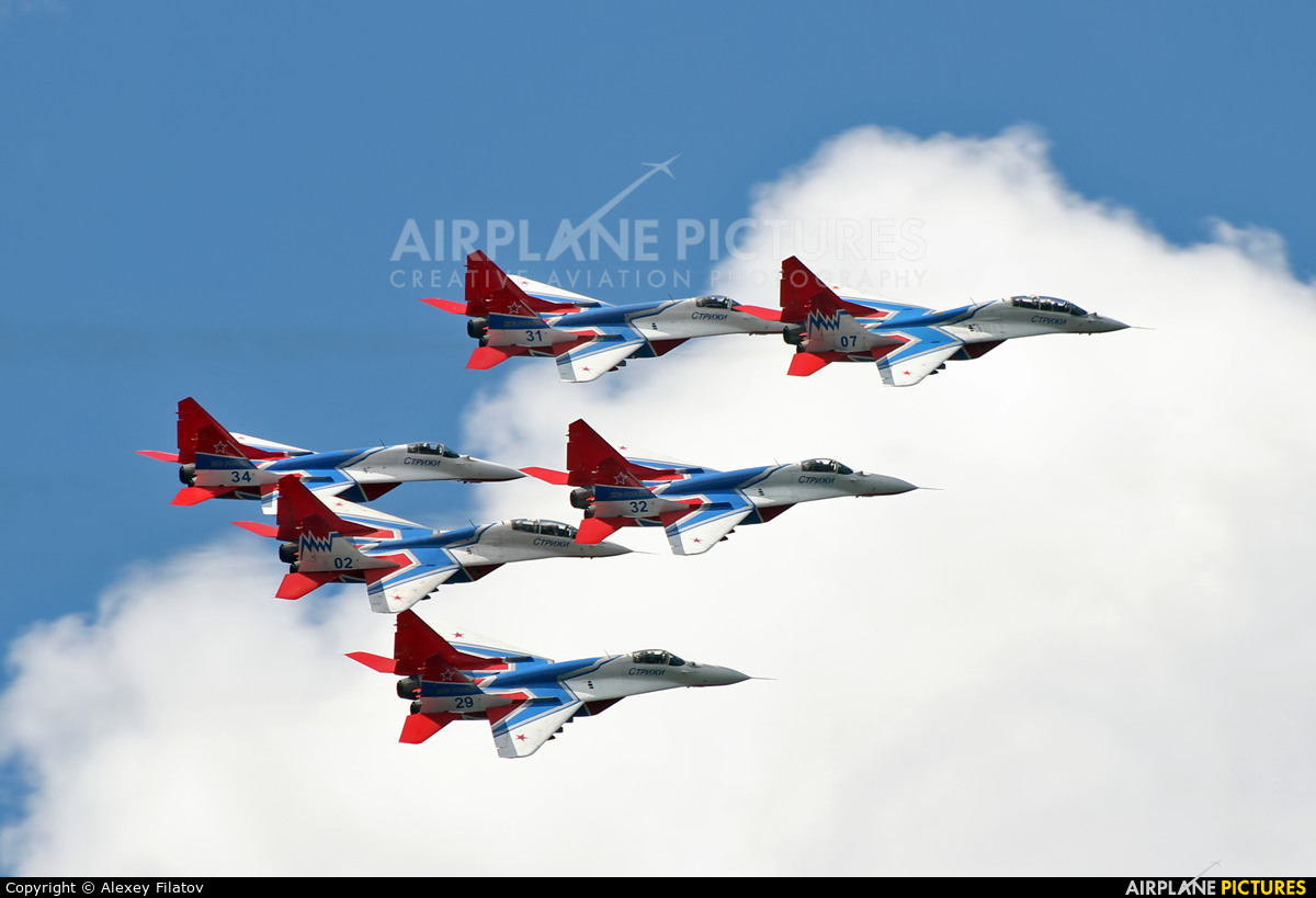 """Russia - Air Force """"Strizhi"""" 29 aircraft at Off Airport - Russia"""