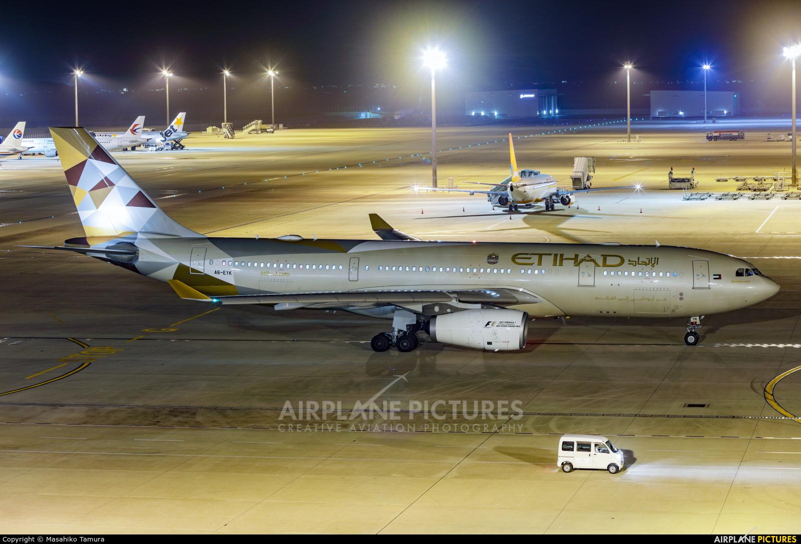 Etihad Airways A6-EYK aircraft at Chubu Centrair Intl