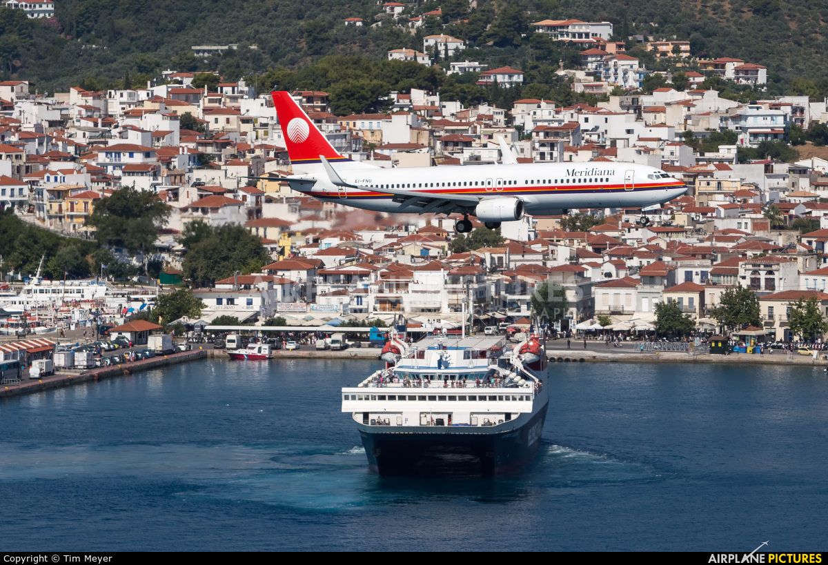 Meridiana EI-FNU aircraft at Skiathos