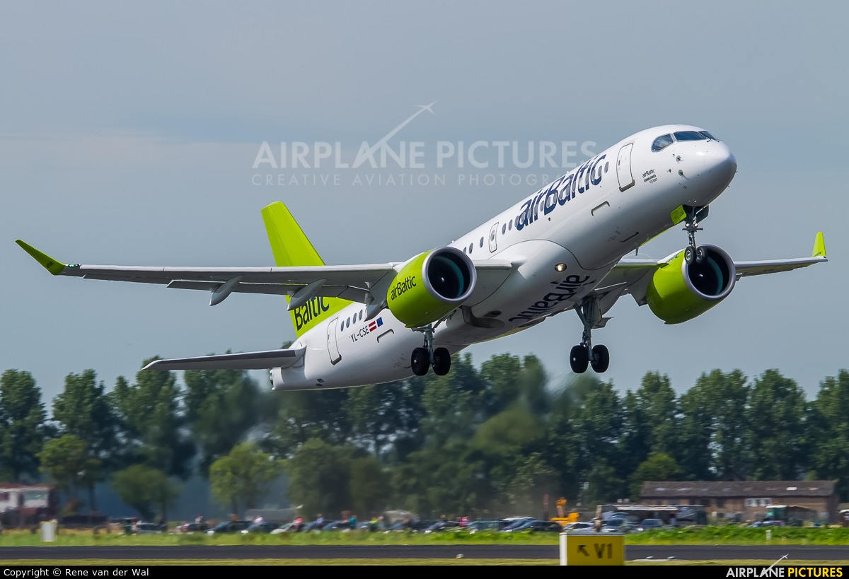Air Baltic YL-CSE aircraft at Amsterdam - Schiphol